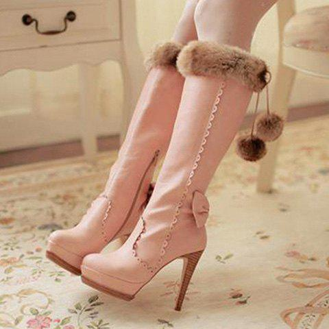 New High Heel Scalloped Pompon Mid Calf Boots - 39 PINK Mobile