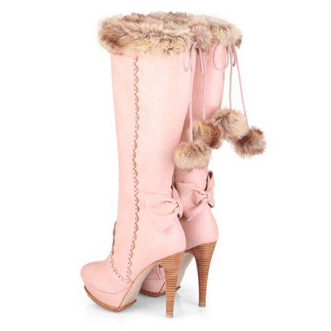 Store High Heel Scalloped Pompon Mid Calf Boots - 39 PINK Mobile