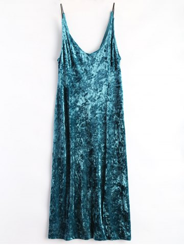 Fancy Maxi Velvet Cami Dress PEACOCK BLUE L