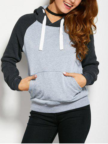 Color Block Drawstring Hoodie with Front Pocket - Light Grey - M