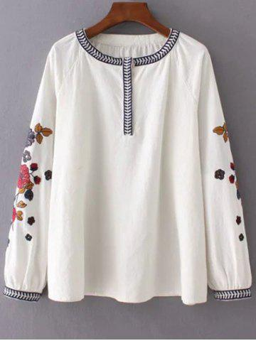 Shops Bubble Sleeve Embroidered Blouse OFF WHITE L