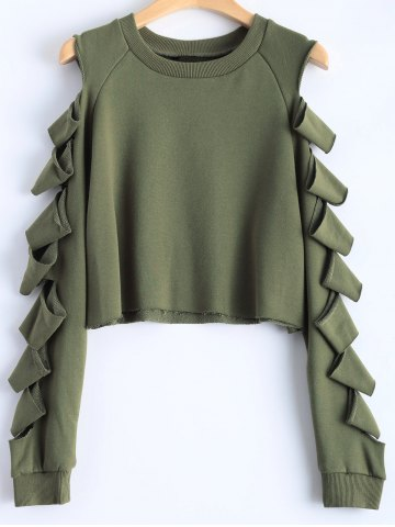 Latest Split Sleeve Crew Neck Cropped Sweatshirt ARMY GREEN L