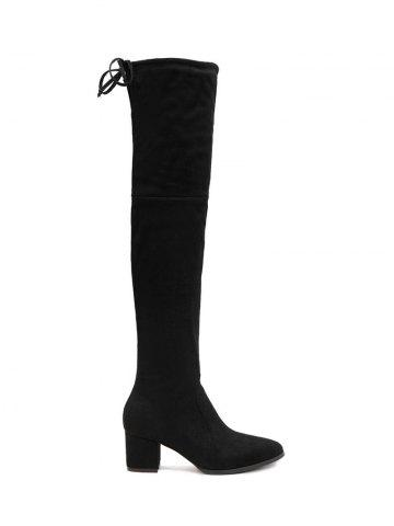 Trendy Chunky Heel Flock Pointed Toe Thigh Boots