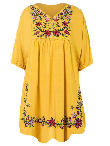 Store V Neck Embroidered Shift Casual Dress YELLOW ONE SIZE