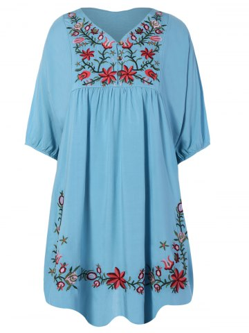 V Neck Embroidered Bib A Line Casual Dress Female - Light Blue - One Size