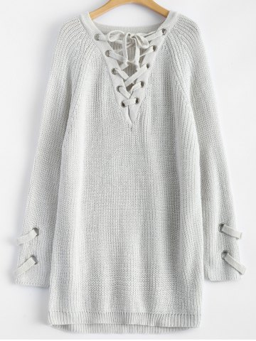 Chunky Lace-Up Longline Sweater - Light Grey - One Size