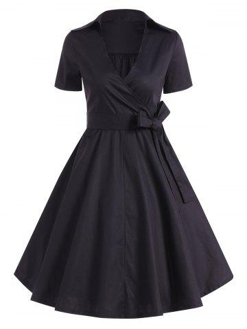 Retro Hepburn Style Bowknot Belted Wrap Dress - Black - S
