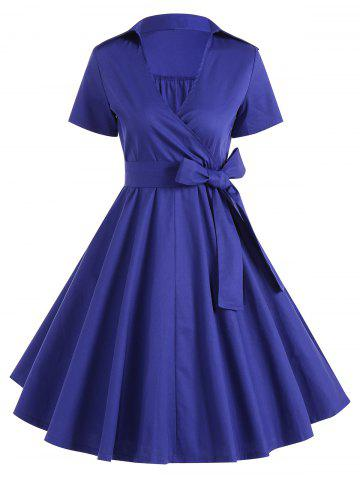 Retro Hepburn Style Bowknot Belted Wrap Dress - BLUE 2XL