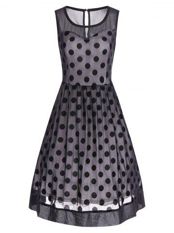 Outfits Summer Retro Polka Dot Mesh Yarn Insert Dress BLACK 3XL
