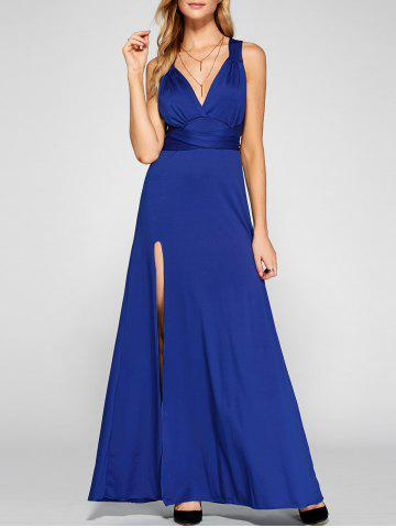 Hot Cross Back Sleeveless Maxi Engagement Party Dress