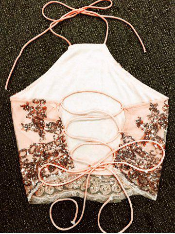Best Sequins Lace Up Backless Crop Top - L NUDE Mobile