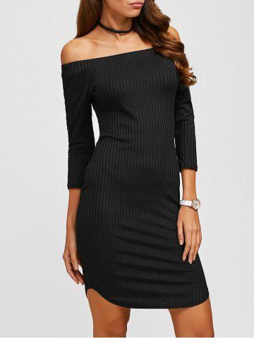 Fancy Off The Shoulder Ribbed Bodycon Dress BLACK XL