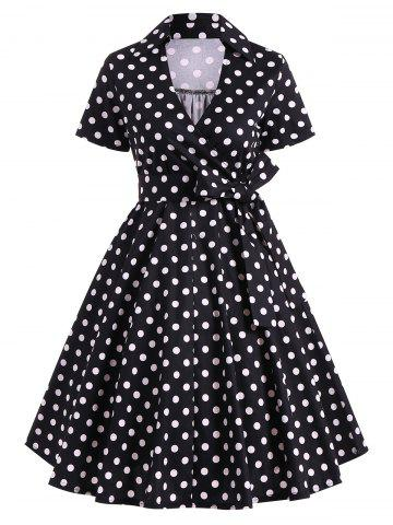 Retro Hepburn Style Polka Dot Bowknot Belted Wrap Dress - Black - Xl