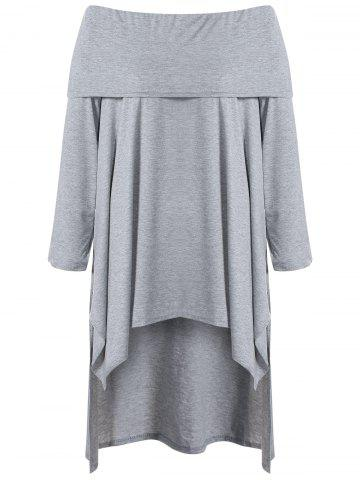 New Asymmetric Casual Long Sleeve Off The Shoulder Dress GRAY XL