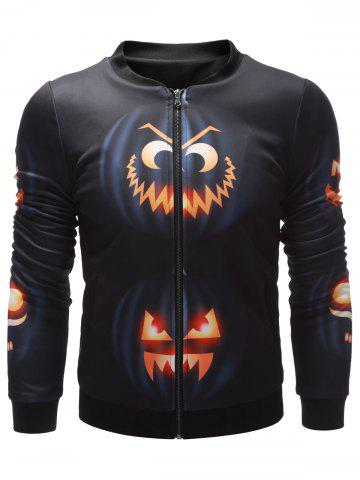 Fancy Wicked Pumpkin Printed Zip Up Halloween Jacket