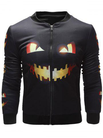 Discount Side Pocket Pumpkin Face Printed Halloween Jacket