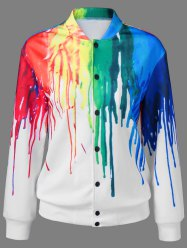 Paint Drip Bomber Jacket - WHITE
