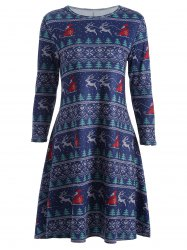 Christmas Elk Print Swing Dress