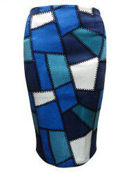 Geometric Patched  Pencil Skirt - BLUE L
