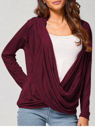 Asymmetric Drape Cardigan - WINE RED