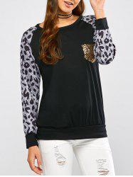 Leopard Pocket Raglan Sleeve Tee