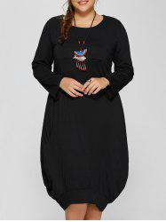 Long Sleeve Plus Size Midi Baggy Dress -