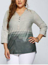 Plus Size V Neck High Low Print Blouse
