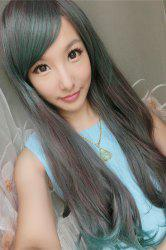 Long Side Bang Slightly Curled Mixed Color Synthetic Cosplay Lolita Wig -