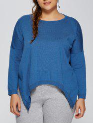Plus Size High Low Pullover Sweater - LAKE BLUE 3XL