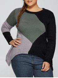 Asymmetric Pullover Plus Size Crew Neck Sweater - BLACK 5XL