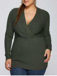 Plus Size V Neck Pullover Sweater - ARMY GREEN