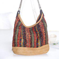Bohemian Straw Chains Printed Shoudler Bag