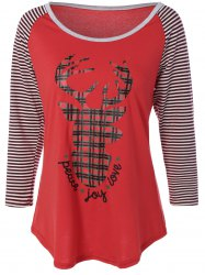 Reindeer Striped Raglan Sleeve Christmas T-Shirt