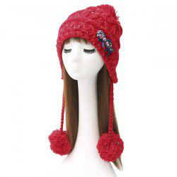 Winter Warm Bowknot Pom Pom Ball Tassel Beanie