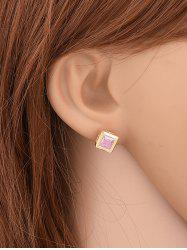 Square Shape Rhinestone Stud Earrings