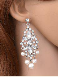 Hollow Rhinestone Faux Pearl Beaded Earrings -