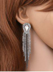 Teardrop Rhinestone Bead Tassel Earrings