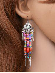 Medallion Colorful Beaded Drop Earrings - SILVER