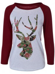 Elk Print Raglan Sleeves T-Shirt