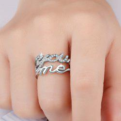 Graphic Rhinestone You Me Ring -