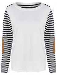 Striped Elbow Patch Tee -