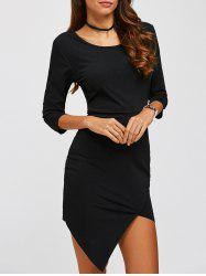 Asymmetric Sheath Dress - BLACK XL