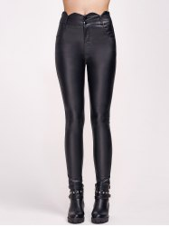 Scalloped Faux Leather High Waist Pants -
