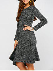 Woolen Asymmetric Fishtail Dress - GRAY