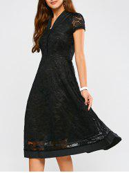 Short Sleeve A Line Midi Lace Swing Dress - BLACK