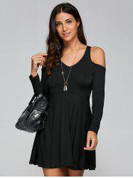 Cold Shoulder Casual V Neck Long Sleeve Dress - BLACK