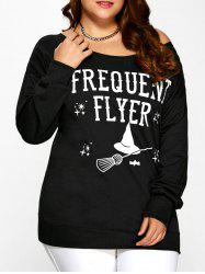 Halloween Graphic Print Sweatshirt - BLACK