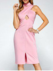 Keyhole Cross Front Bandage Cut Out Dress -