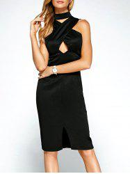 Keyhole Cross Front Bandage Cut Out Dress - BLACK