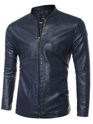Simple Stand Collar PU Leather Jacket - BLUE